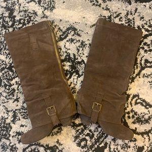Suede dark taupe below the knee boots